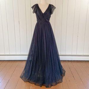 NWT black tulle floor-length gown formal dress